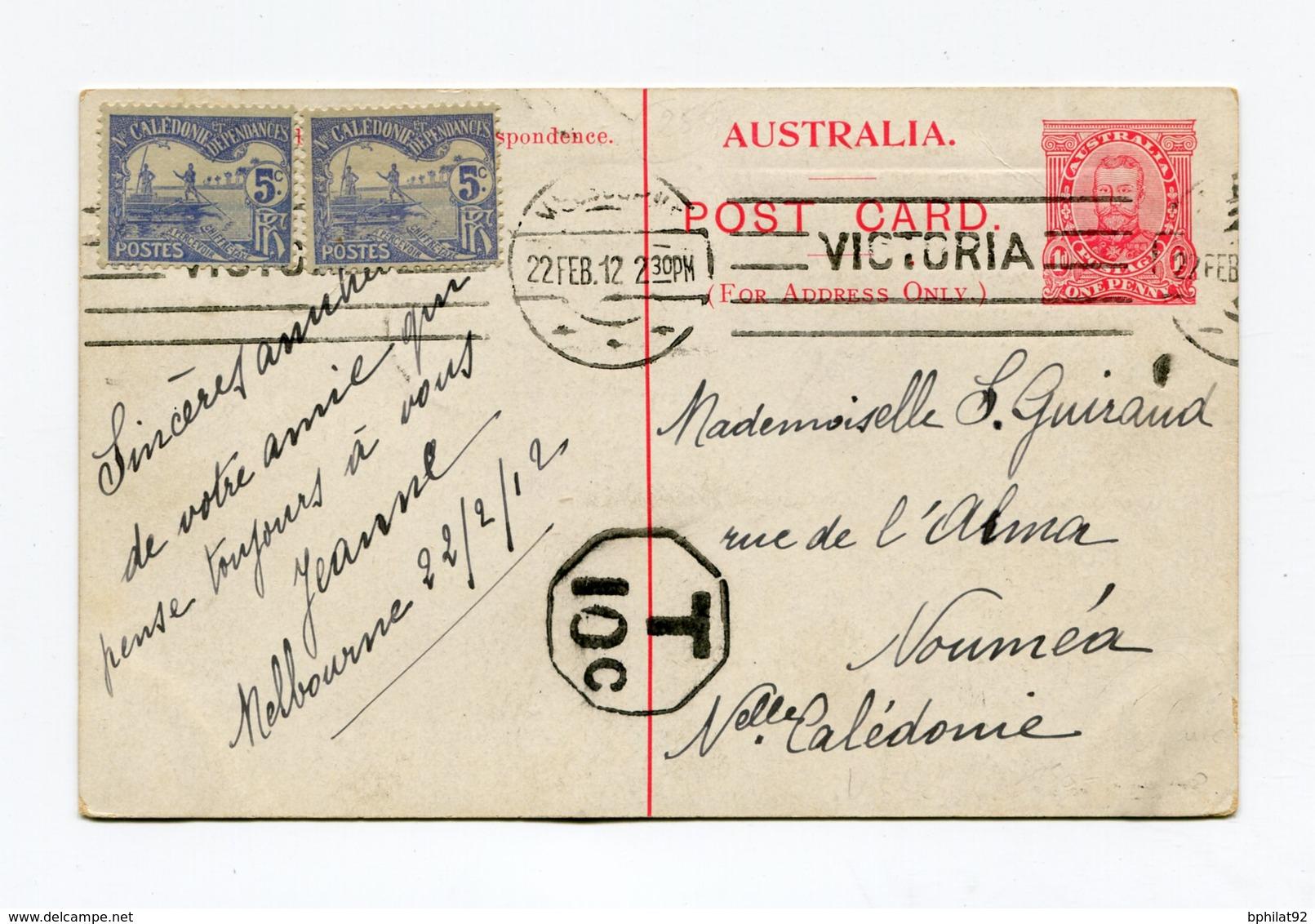 !!! PRIX FIXE : ENTIER AUSTRALIEN DE 1912 POUR NOUMEA TAXE A L'ARRIVEE EN NOUVELLE CALEDONIE - Nueva Caledonia