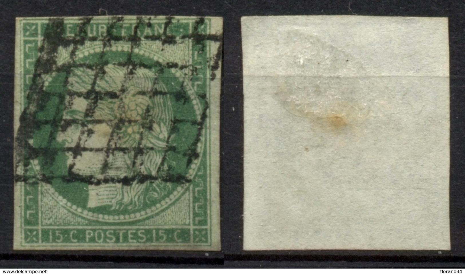 France N° 2 Obl. Grille - 2è Choix (réparé) Cote 1050 Euros - 1849-1850 Ceres