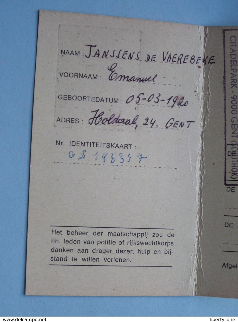 DIERENBESCHERMING Oost Vlaanderen - IDENTITEITSKAART Van INSPECTEUR T.e.m. 1987 ( Zie/voir Photo ) ! - Organizaciones