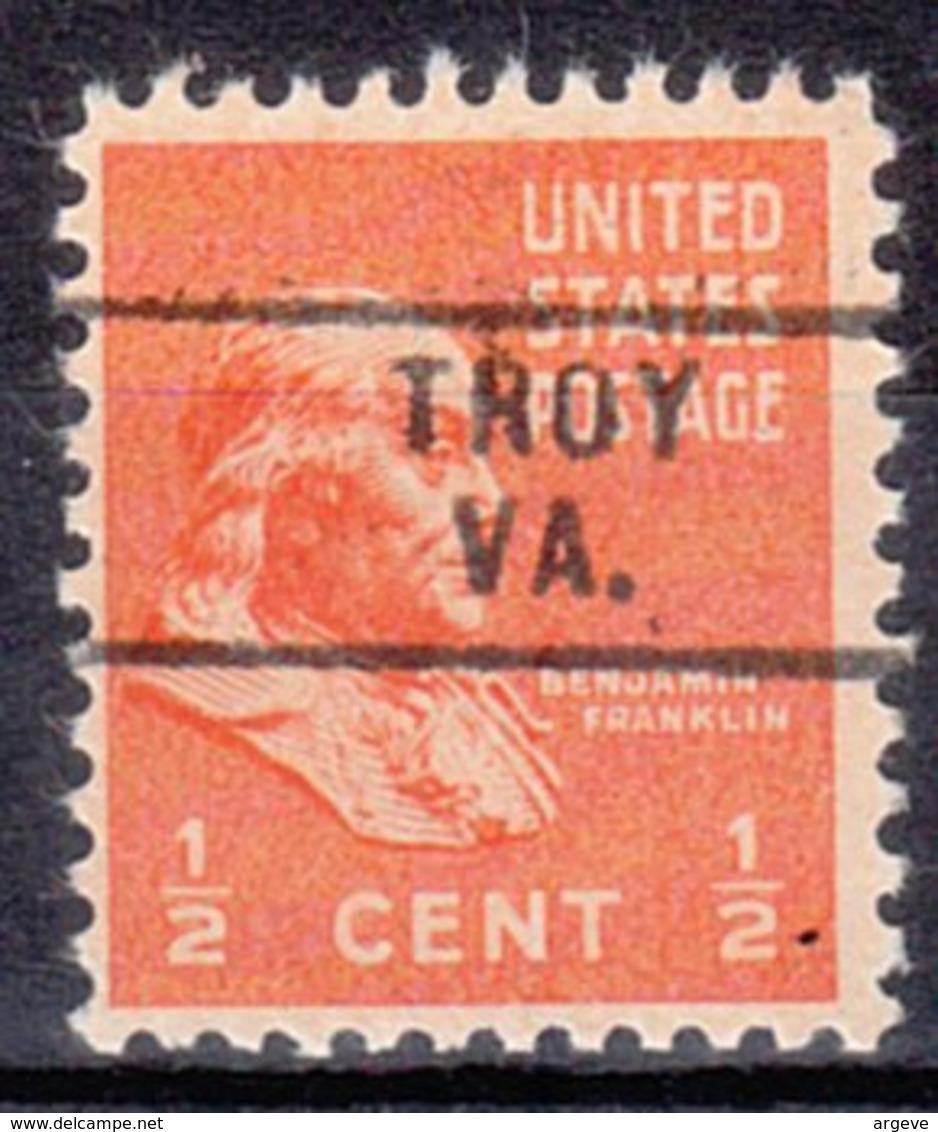 USA Precancel Vorausentwertung Preo, Locals Virginia, Troy 729 - Vereinigte Staaten
