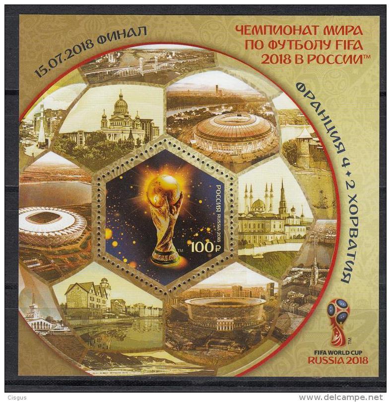 Russland Russia 2018 MNH ** Mi 2577 Bl.264 2018 FIFA World Cup In Russia Final Result Overprint M - Fußball-Weltmeisterschaft