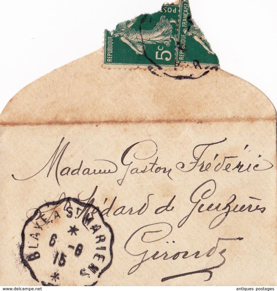 Lettre + Carte Saint-Christoly De Blaye Madame Gironde Faureau Institutrice Cachet Convoyeur Blaye à Saint Mariens - France