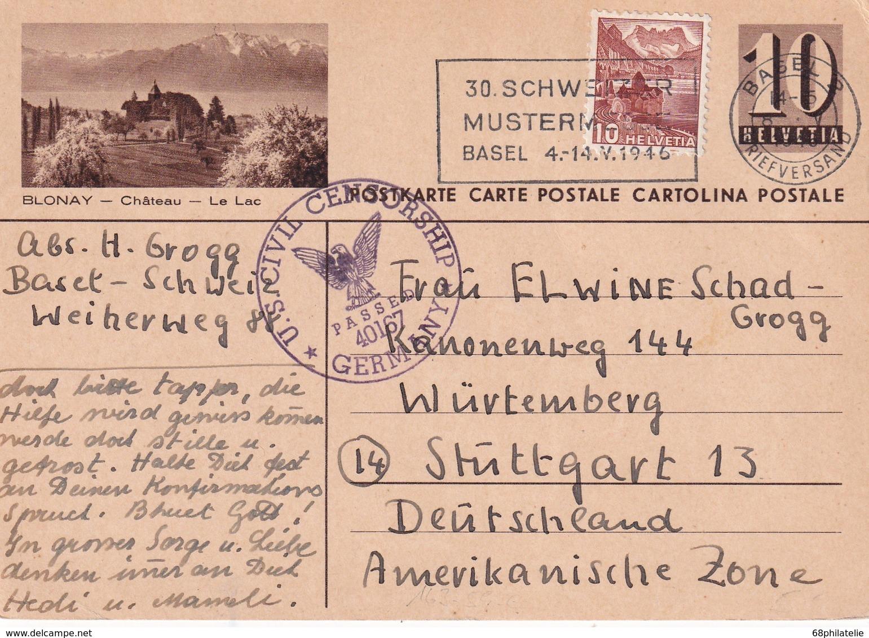 SUISSE 1946  ENTIER POSTAL CARTE ILLUSTREE CENSUREE DE BALE POUR STUTTGART - Interi Postali