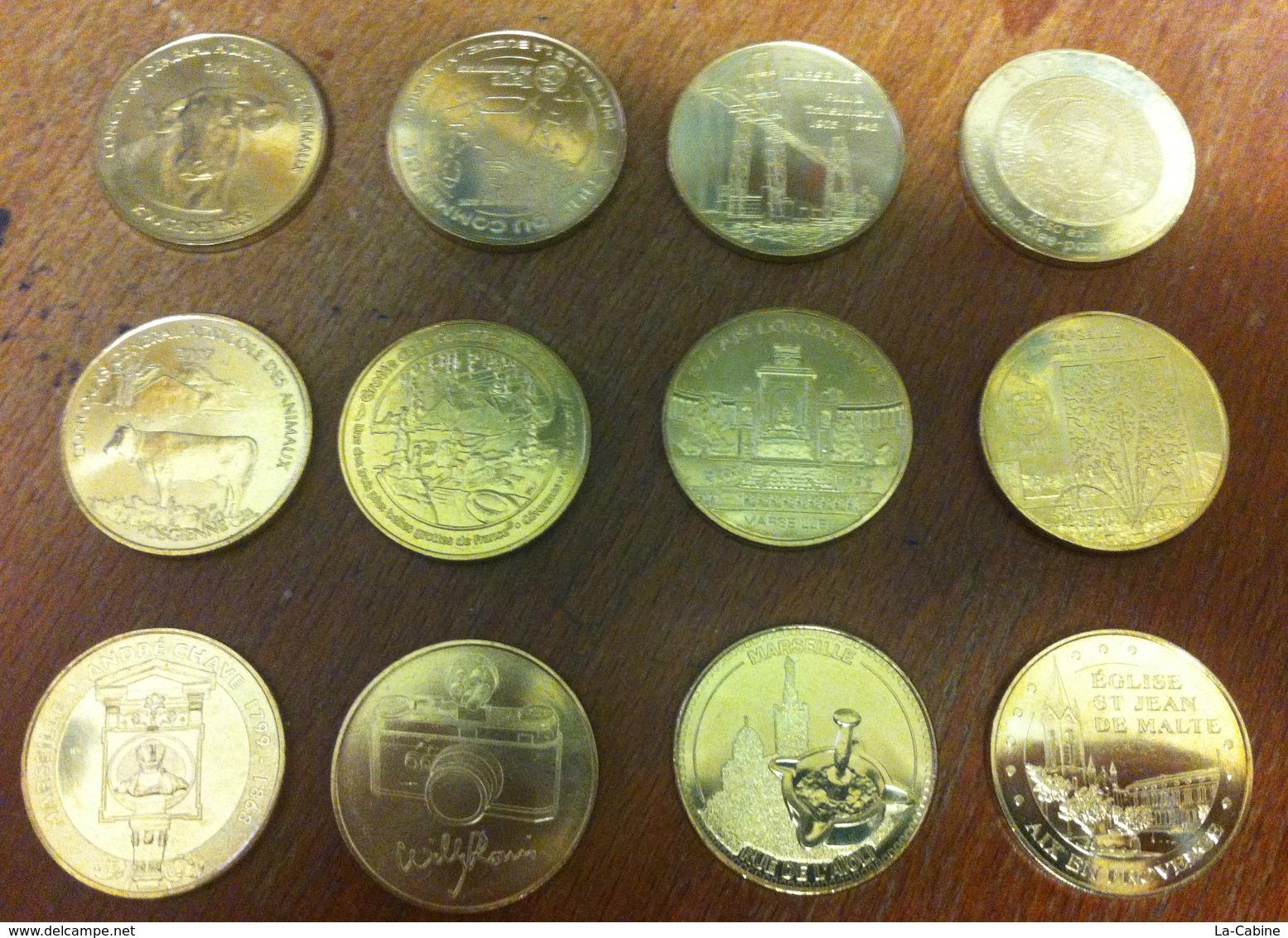 1 LOT DE 12 MÉDAILLES TOURISTIQUE SOUVENIR MONNAIE DE PARIS JETON MEDALS TOKENS COINS MONNAIE - Monnaie De Paris