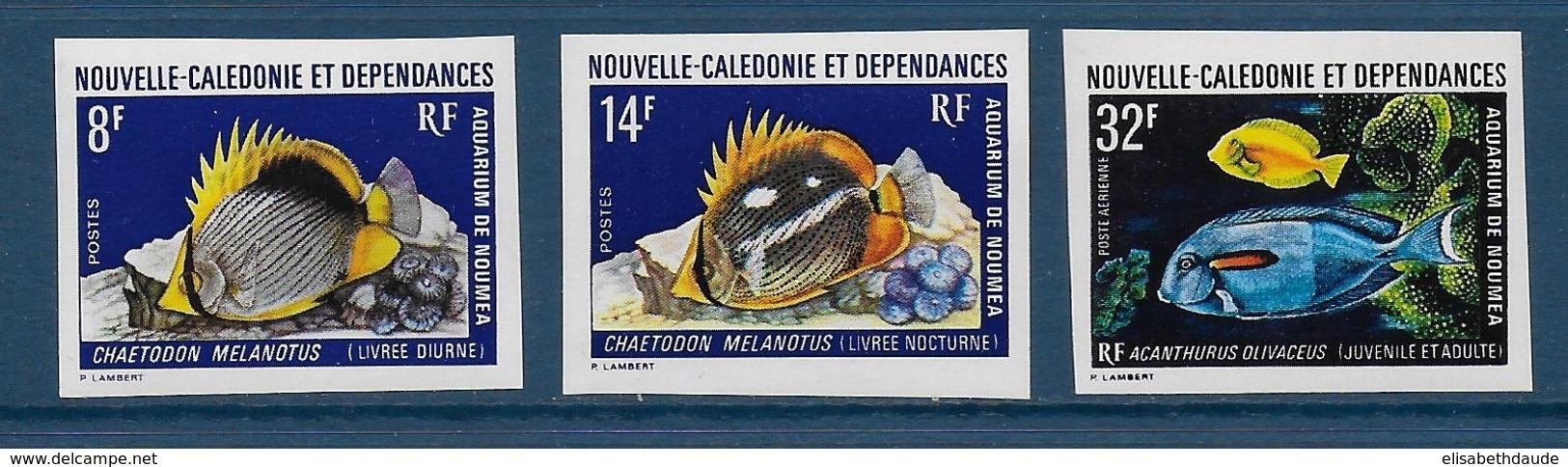 CALEDONIE - YVERT N° 387/388 + PA 145 NON DENTELES ** / MNH - AQUARIUM - Sin Dentar, Pruebas De Impresión Y Variedades