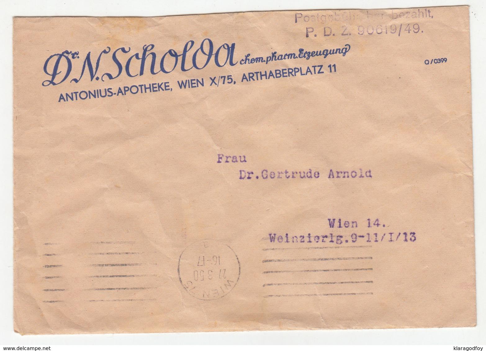 Austria, Dr. N. Scholda Apotheke Company Letter Cover Travelled 1950 B181001 - 1945-1992 Socialist Federal Republic Of Yugoslavia