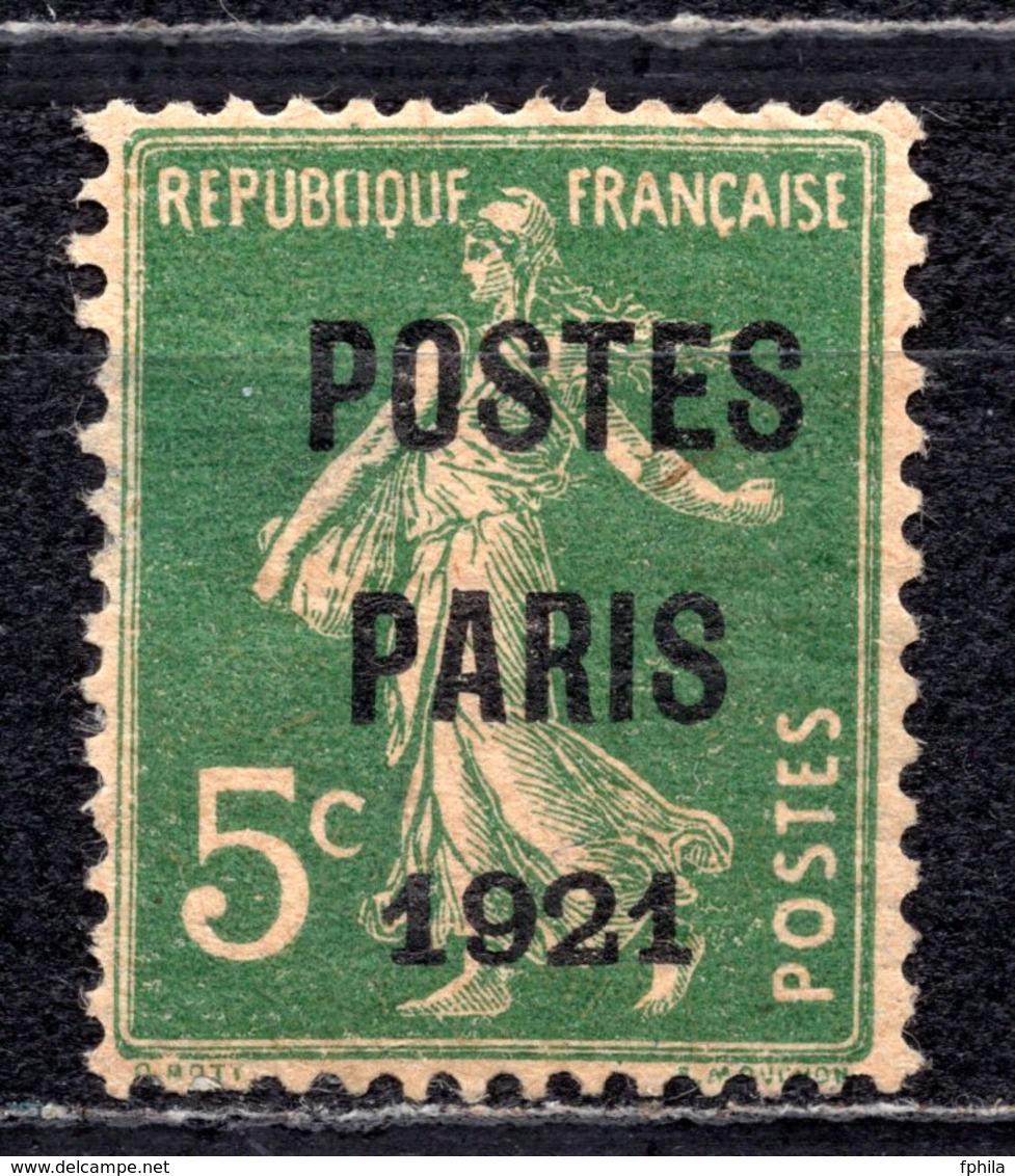 1921 FRANCE 5C. POSTES PARIS OVERPRINT MH * - Vorausentwertungen