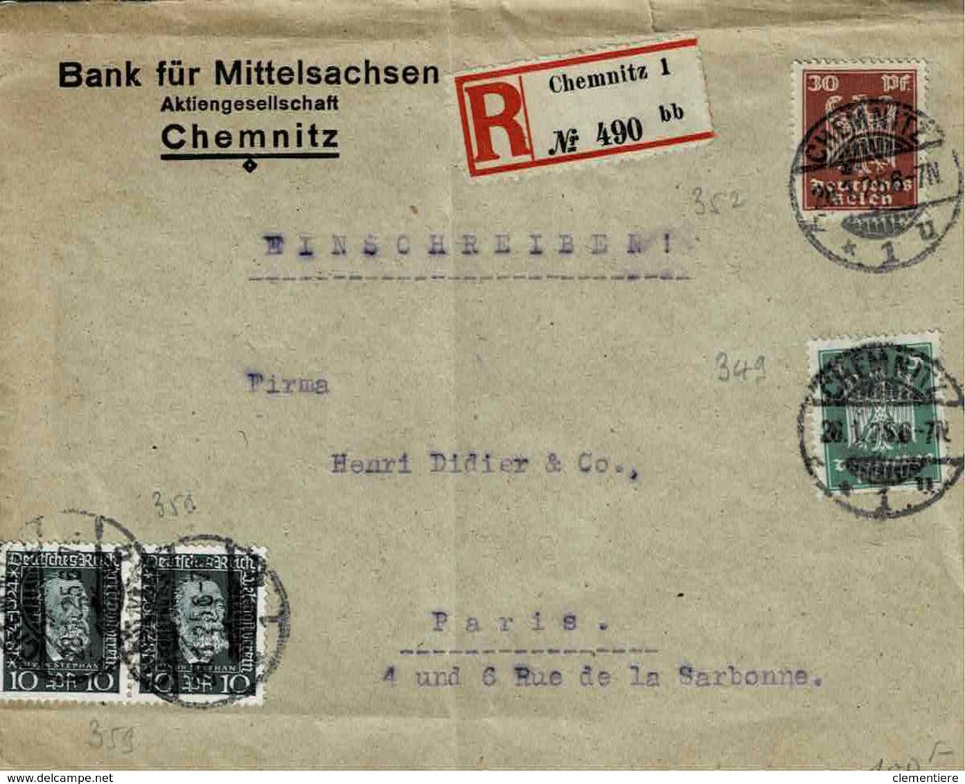 TP N° 349,352 Et 356 (Y&T) Sur Enveloppe De Chemins Pour Paris En Recommandé - Deutschland