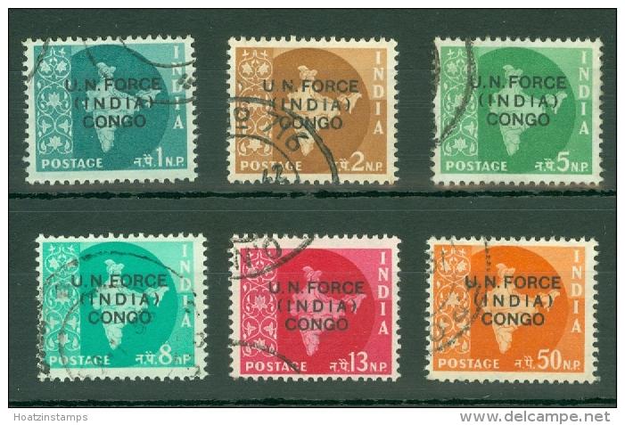 India - Congo: 1962   Map Of India 'U.N. Force India Congo' OVPT Set   SG U1-U6   Used - Franchise Militaire