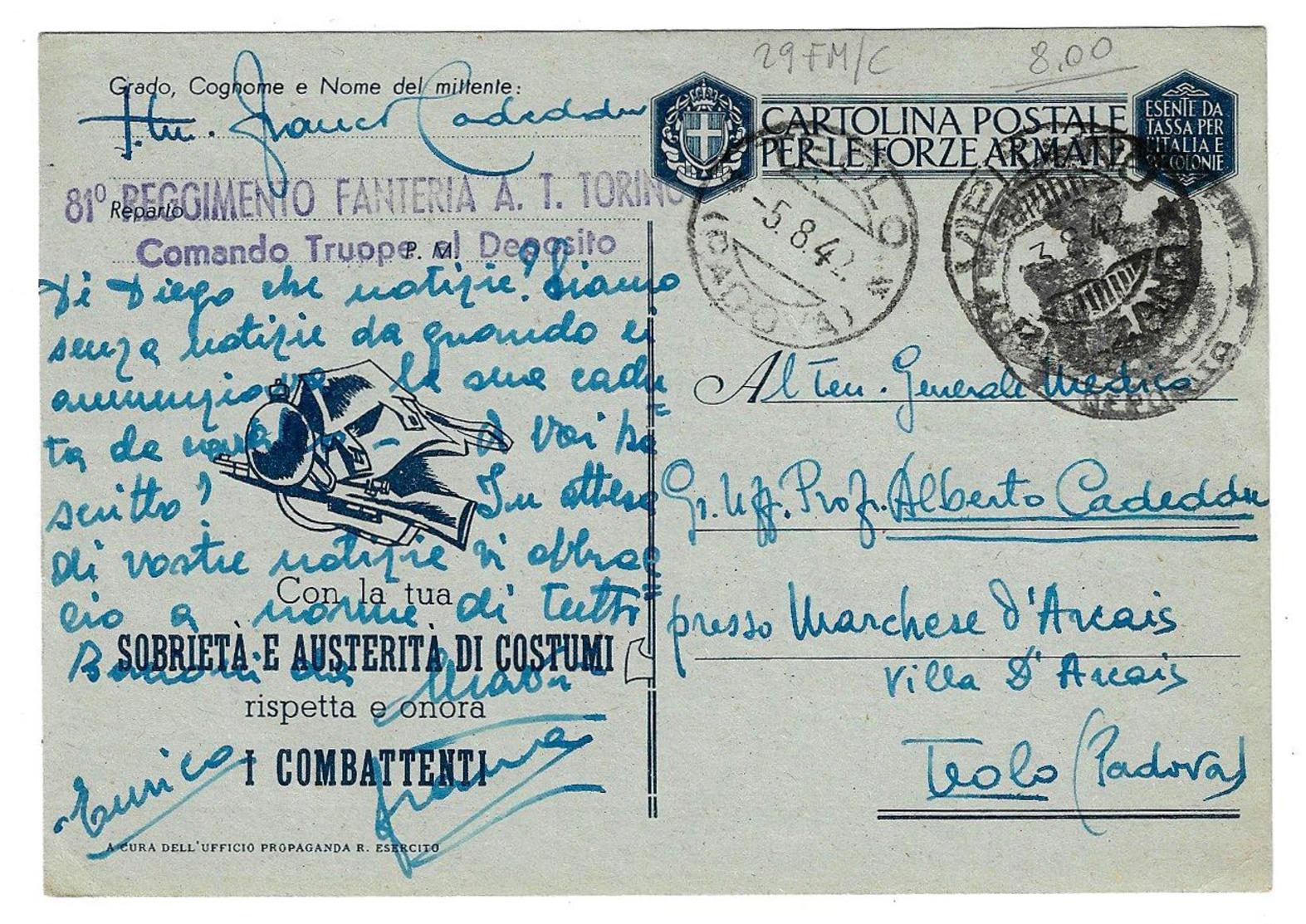 Cartolina Postale Per Le Forze Armate - Posta Militare - 29 FM/C/1. 1942 - 1900-44 Vittorio Emanuele III