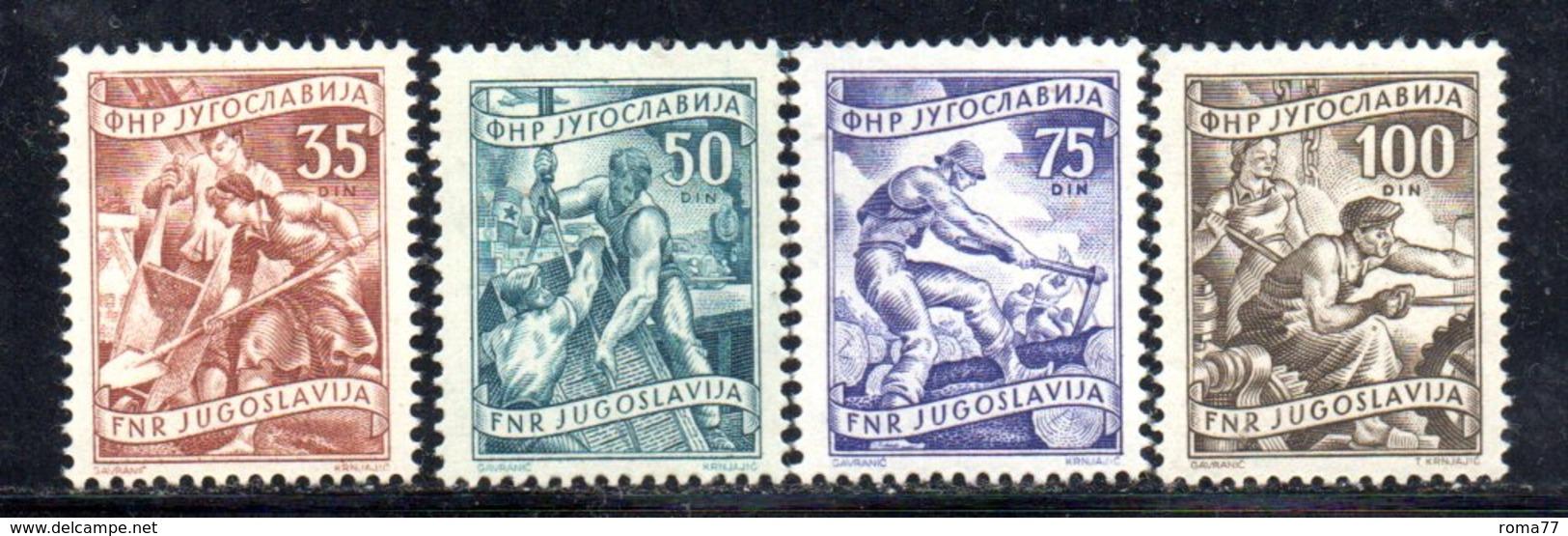 T303 - YUGOSLAVIA 1951 , Lavoro 4 Valori 2a Serie Con Linguella * - 1945-1992 Repubblica Socialista Federale Di Jugoslavia