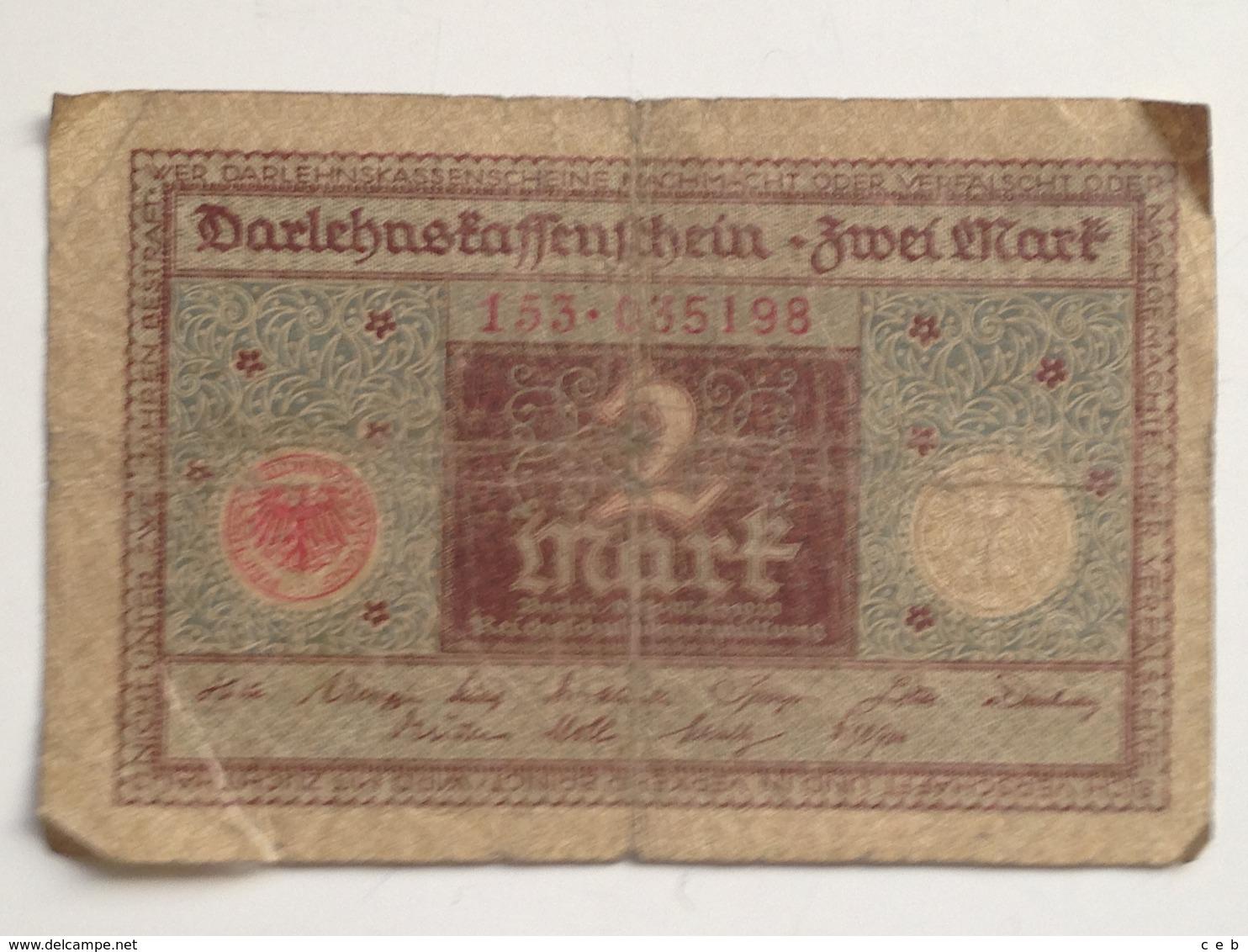Billete Alemania. 2 Marcos. 1920. Marrón - [ 3] 1918-1933 : República De Weimar