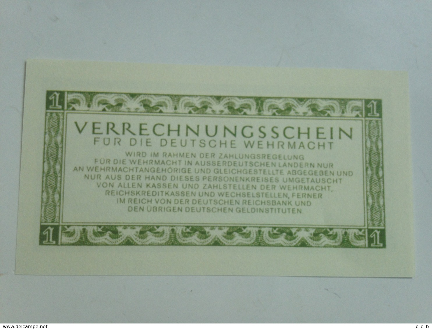 Billete Whermacht. Ejército Alemán. 2 Guerra Mundial. 1 Marco. 1944. Réplica - [ 4] 1933-1945 : Third Reich