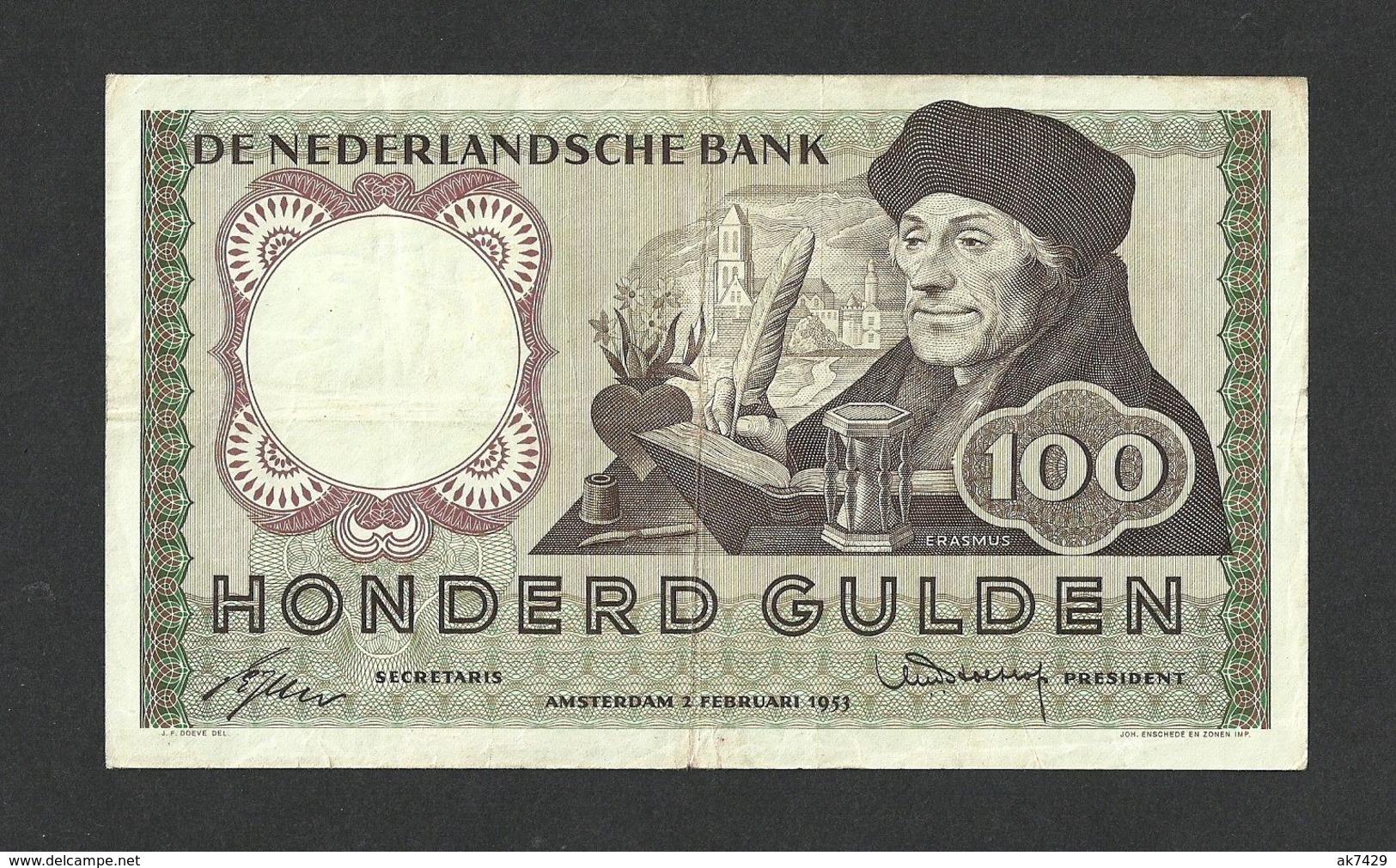 NETHERLANDS 100 GULDEN 1953 PICK #88VF RARE - [2] 1815-… : Reino De Países Bajos