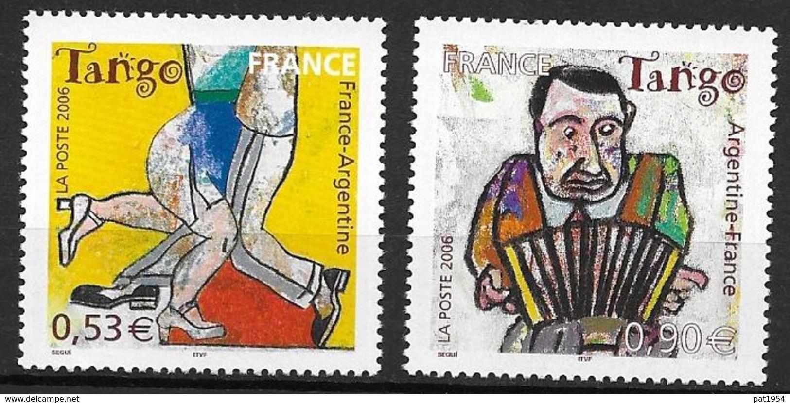 France 2006 N° 3932/3933 Neufs Le Tango, émission Commune Avec Argentine à La Faciale - France