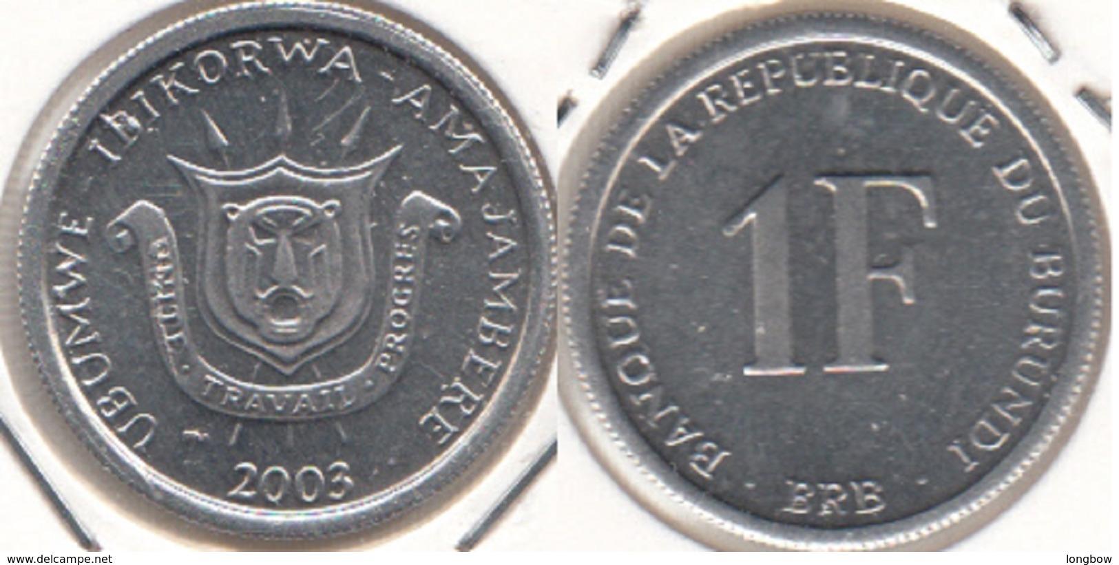 Burundi 1 Franc 2003 KM#19 - Used - Burundi