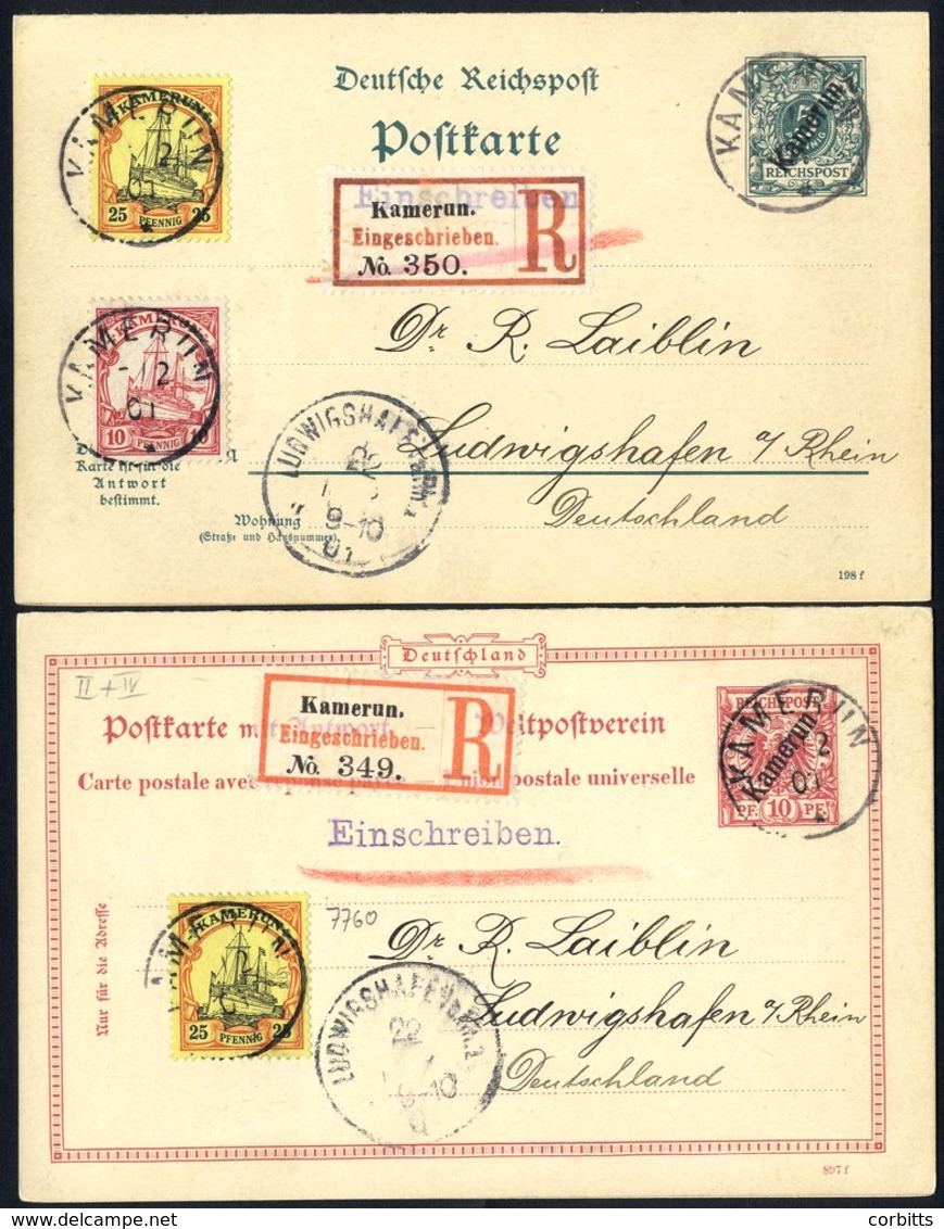 CAMEROUN 1901 5pf & 10pf Reply Stationery Cards Uprated And Registered To Germany, Fine Condition With Unused Reply Sect - Stamps