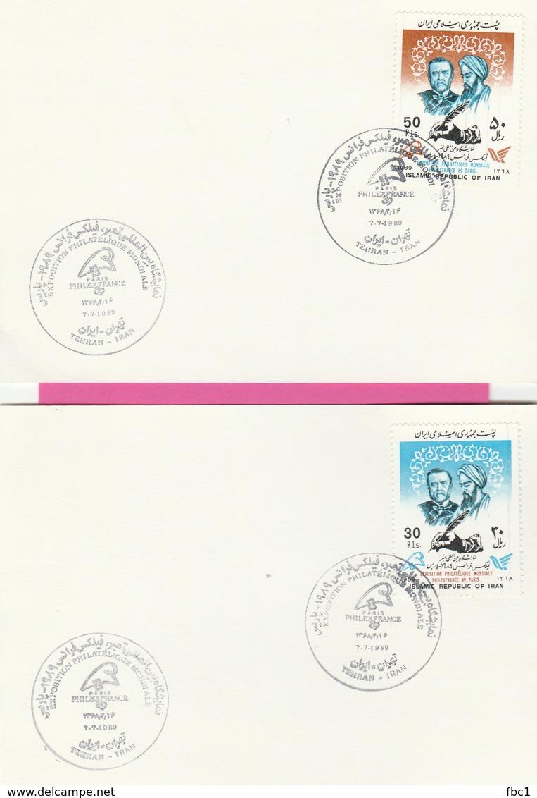 Louis Pasteur - Iran N°2131/2132 Sur Carte - Exposition Philatélique Philexfrance 89 - Louis Pasteur