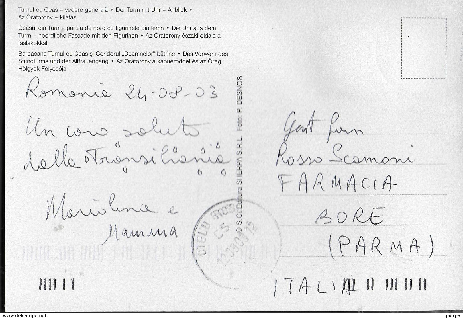 ROMANIA - SIGHISOARA - VEDUTA GENERALE - VIAGGIATA 2003 FRANCOBOLLO ASPORTATO - Romania