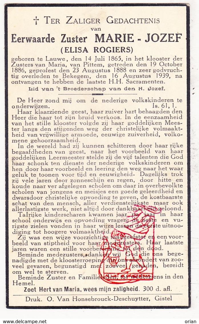 DP EZ Elisa Rogiers - Zr. Marie Jozef ° Lauwe Menen 1865 † Bekegem Ichtegem 1939 / Klooster Zrs. V Maria Pittem - Devotion Images