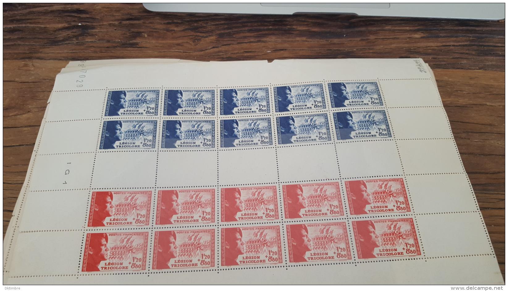 LOT 417018 TIMBRE DE FRANCE NEUF** FEUILLE COMPLETE N°565/566 VALEUR 275 EUROS BLOC - Feuilles Complètes