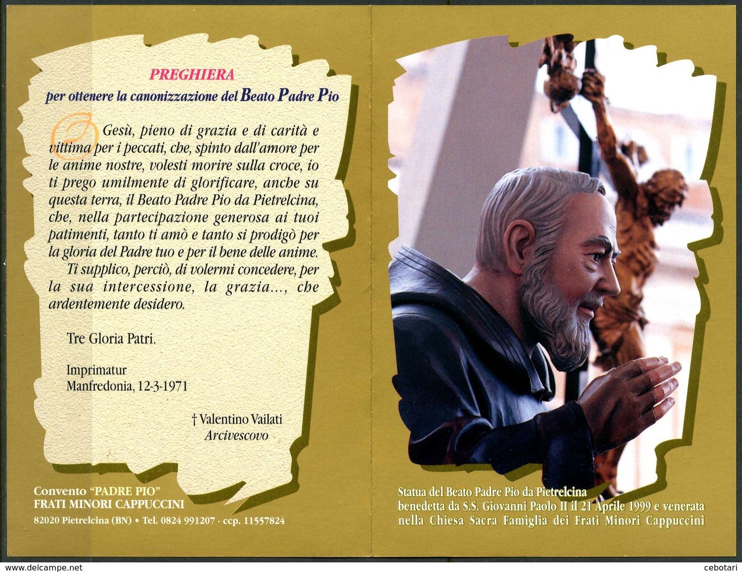 SANTINO - Beato Padre Pio Da Pietrelcina - Santino Pieghevole Con Preghiera, Come Da Scansione. - Devotion Images