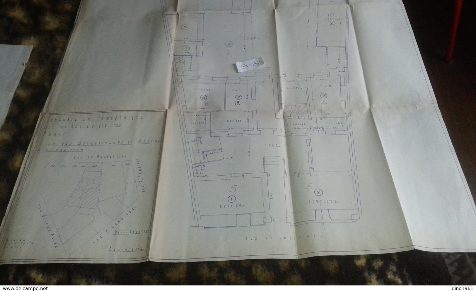 VP13.024 - PARIS -  Grand Plan 69 X 91 Immeuble Du 182 Rue De Belleville à PARIS - Architecture