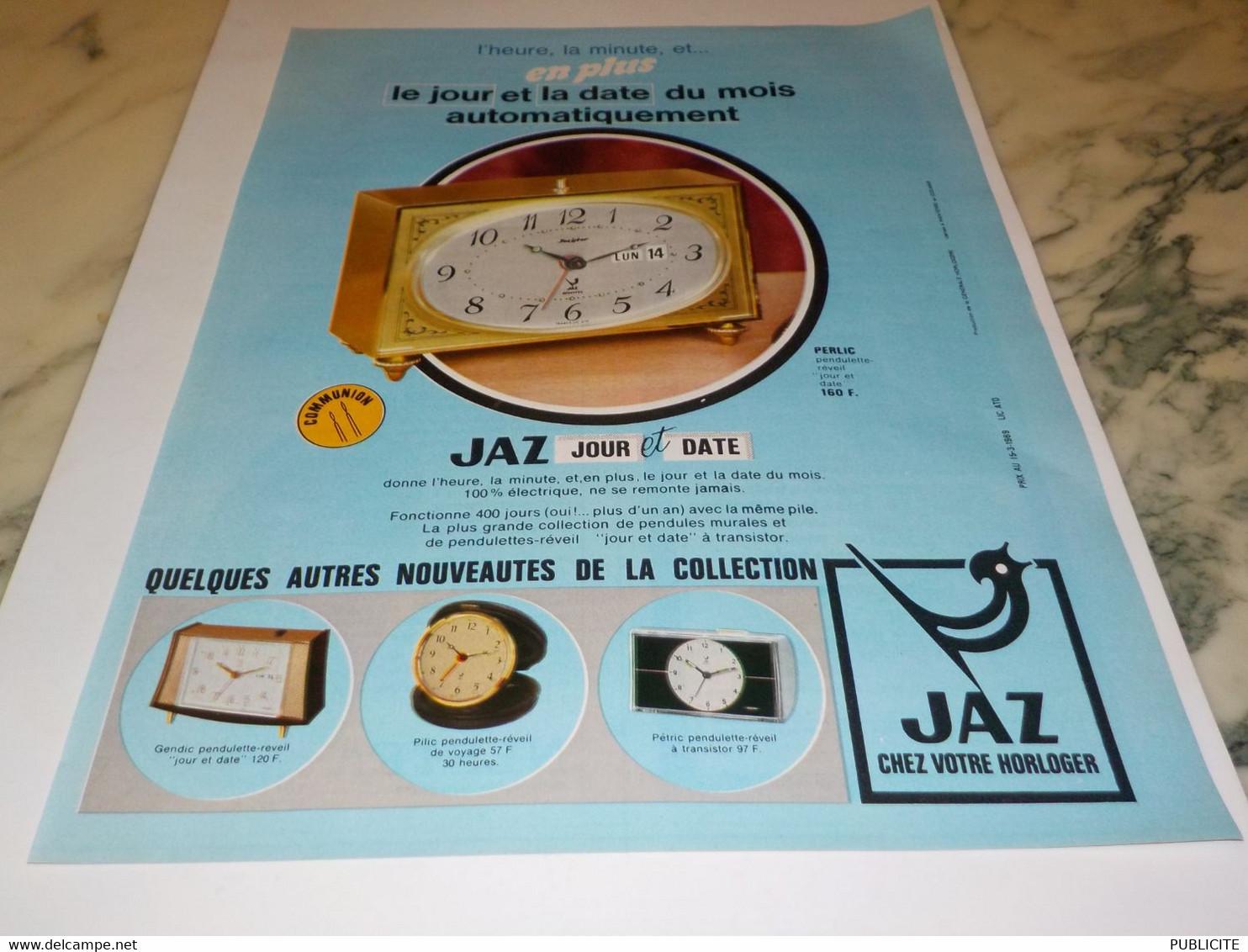 ANCIENNE PUBLICITE REVEIL  JAZ 1969 - Bijoux & Horlogerie