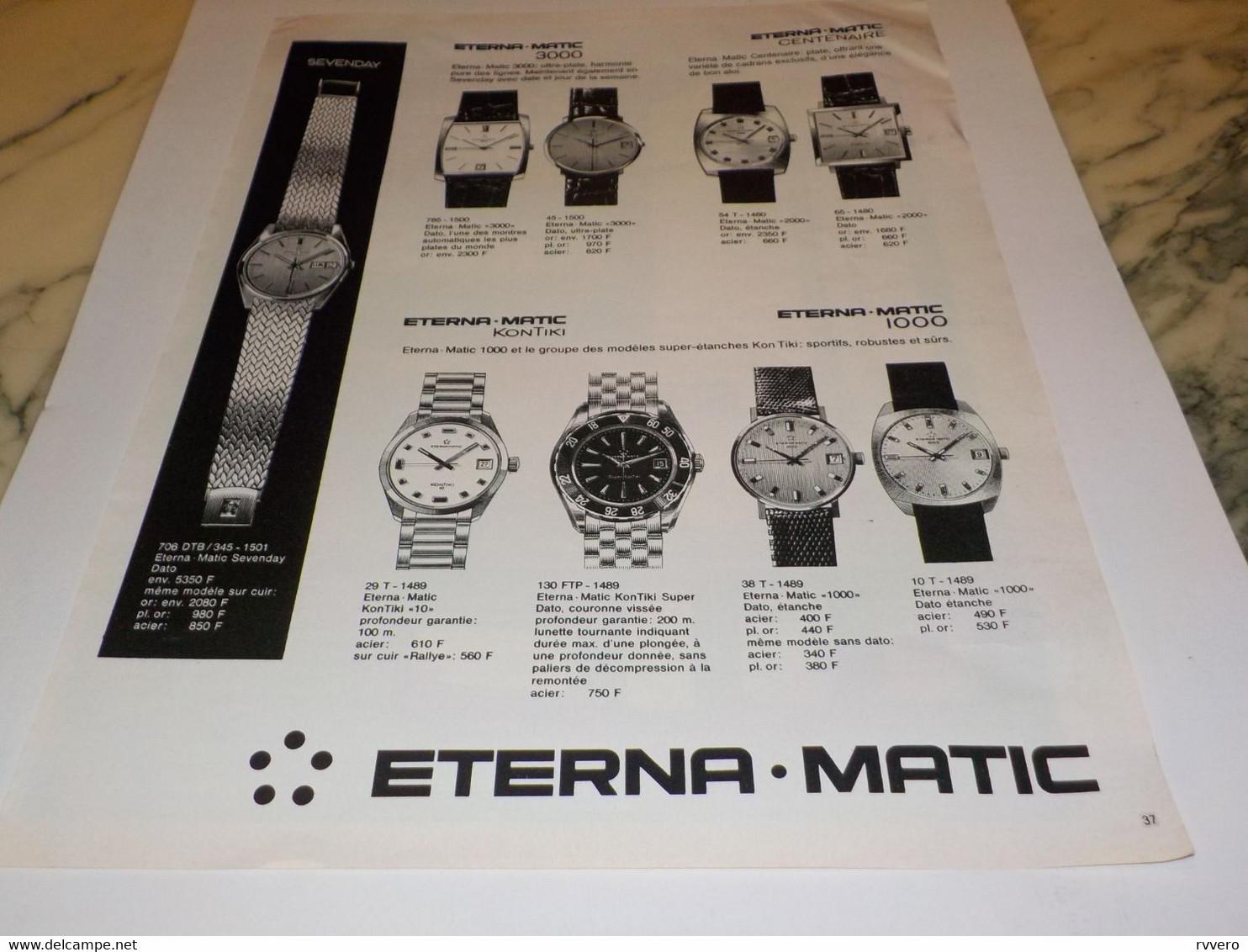 ANCIENNE PUBLICITE MONTRE ETERNA.MATIC 1969 - Bijoux & Horlogerie