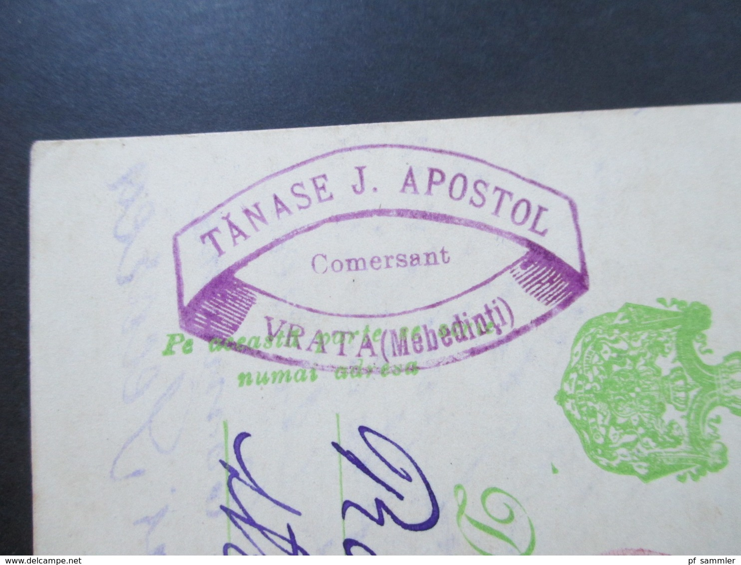Rumänien 1913 Ganzsache Mit Violettem Stempel!! Tanase J. Apostol Comersent Vrata (Mebedinti) - Covers & Documents