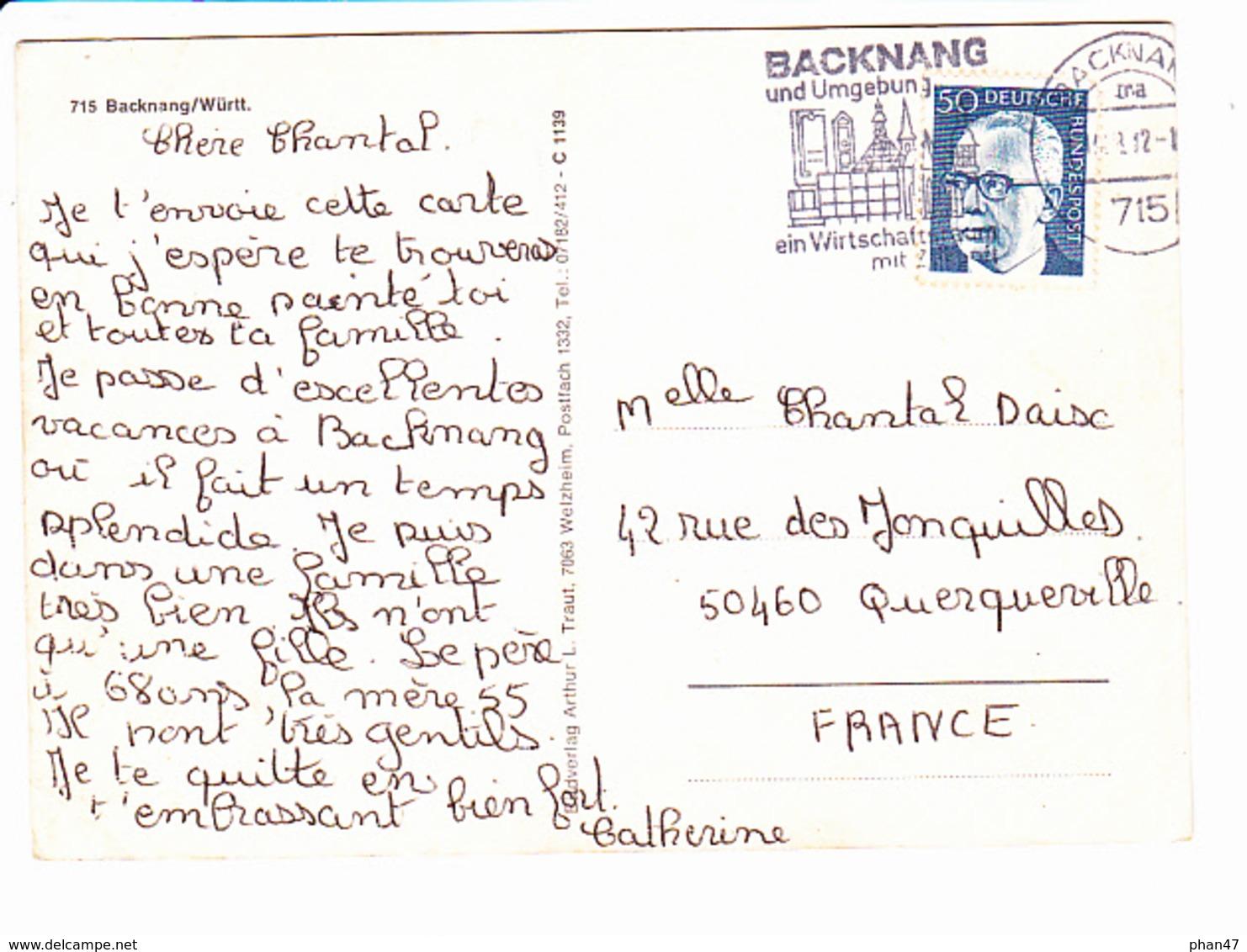 BACKNANG (Allemagne), Château D'eau, Piscine, Immeubles, 6 Vues, Blason, Ed. Arthur L. Traut 1970 Environ - Backnang