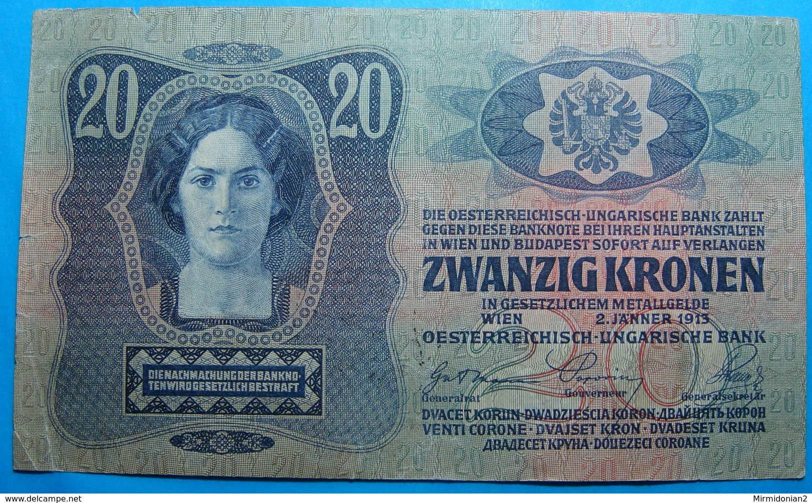 FIUME - RIJEKA 20 KRONEN ND 1918 (OLD DATE 1913), ITALY, CROATIA, AUSTRIA, HUNGARY, SEAL ON REVERSE, ORIGINAL SEAL, RARE - Croatie