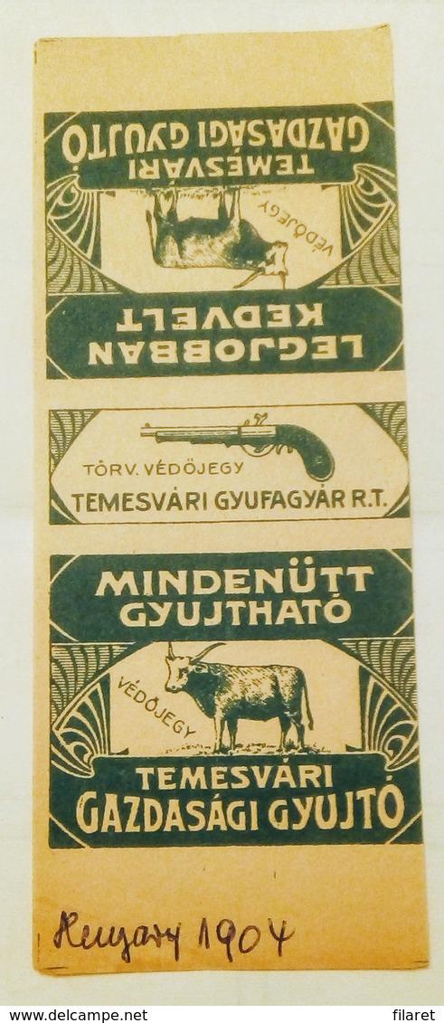 TEMESVARY/TIMIȘOARA-AUSTRO-HUNGARY-GUN/BUFFALO,1904 PERIOD - Matchbox Labels