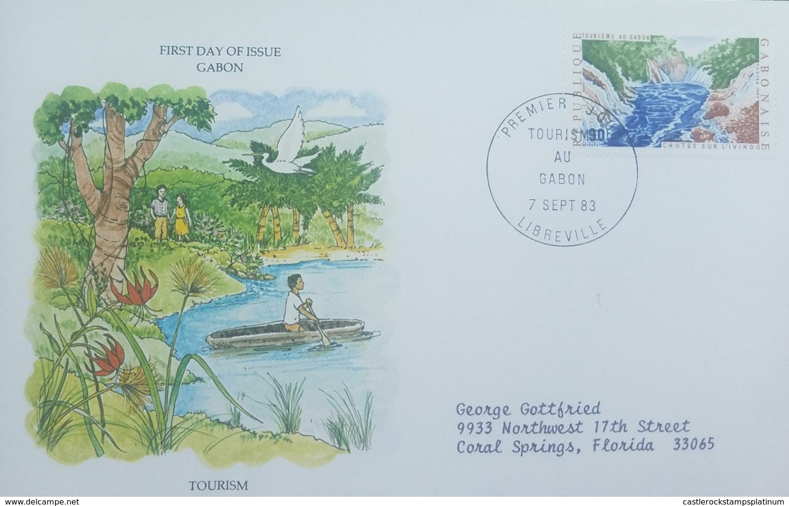 L) 1983 GABON, TOURISM, NATURE, PEOPLE, BOAT, BIRD, PALM, TREE, RIVER, CIRCULATED COVER FROM GABON TO USA, FDC - Gabon