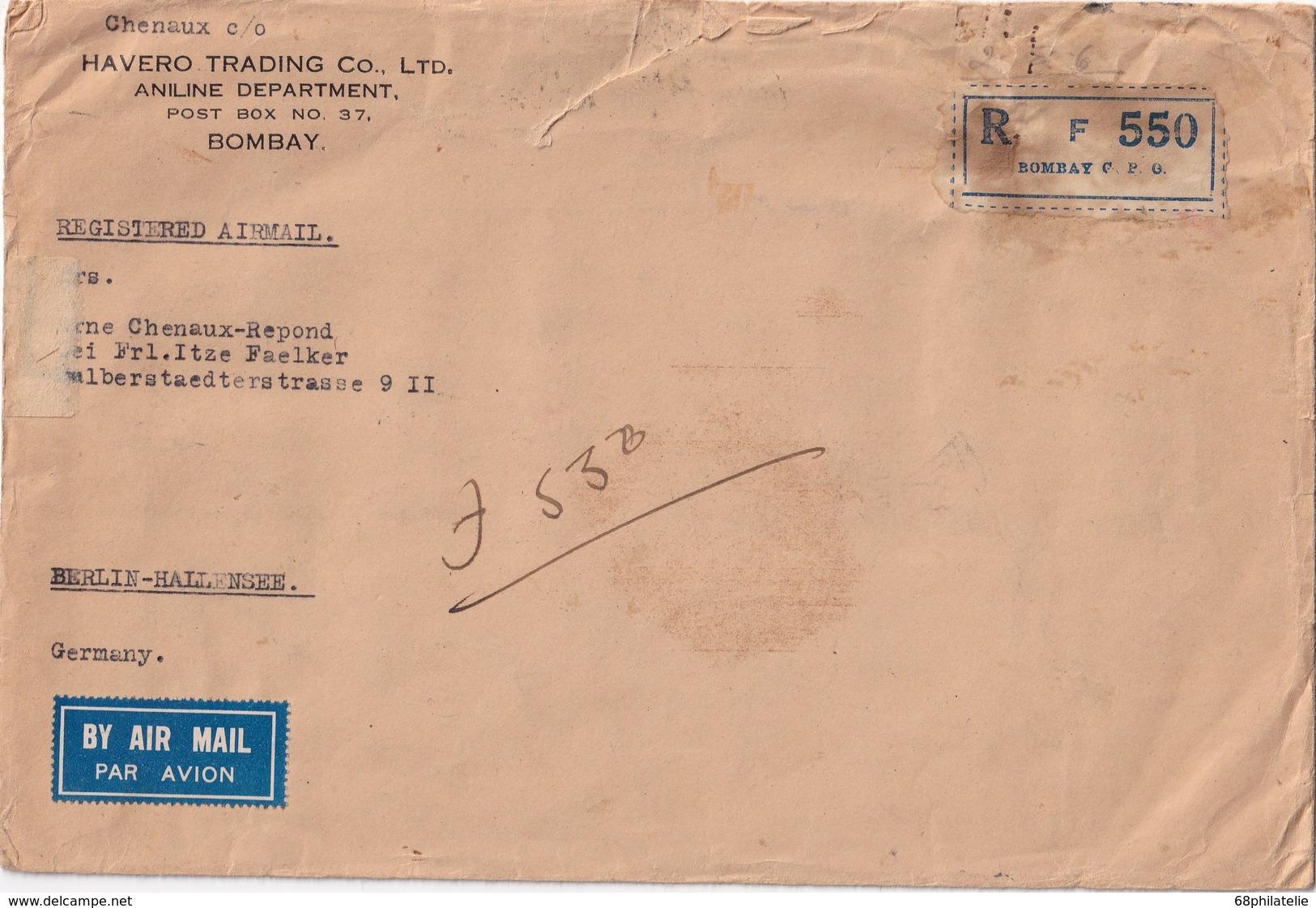 INDE 1936 LETTRE RECOMMANDEE DE BOMBAY AVEC CACHET ARRIVEE BERLIN - India (...-1947)