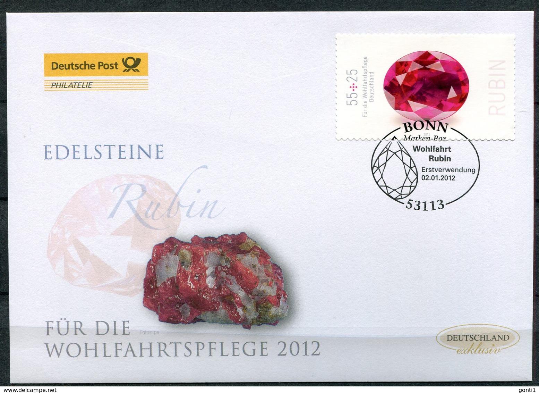 """Germany 2012 First Day Cover FDC Mi.Nr.2909 Selbstkleber """"Wohlfahrt-Edelsteine,Rubin """"1 FDC - Minerals"""