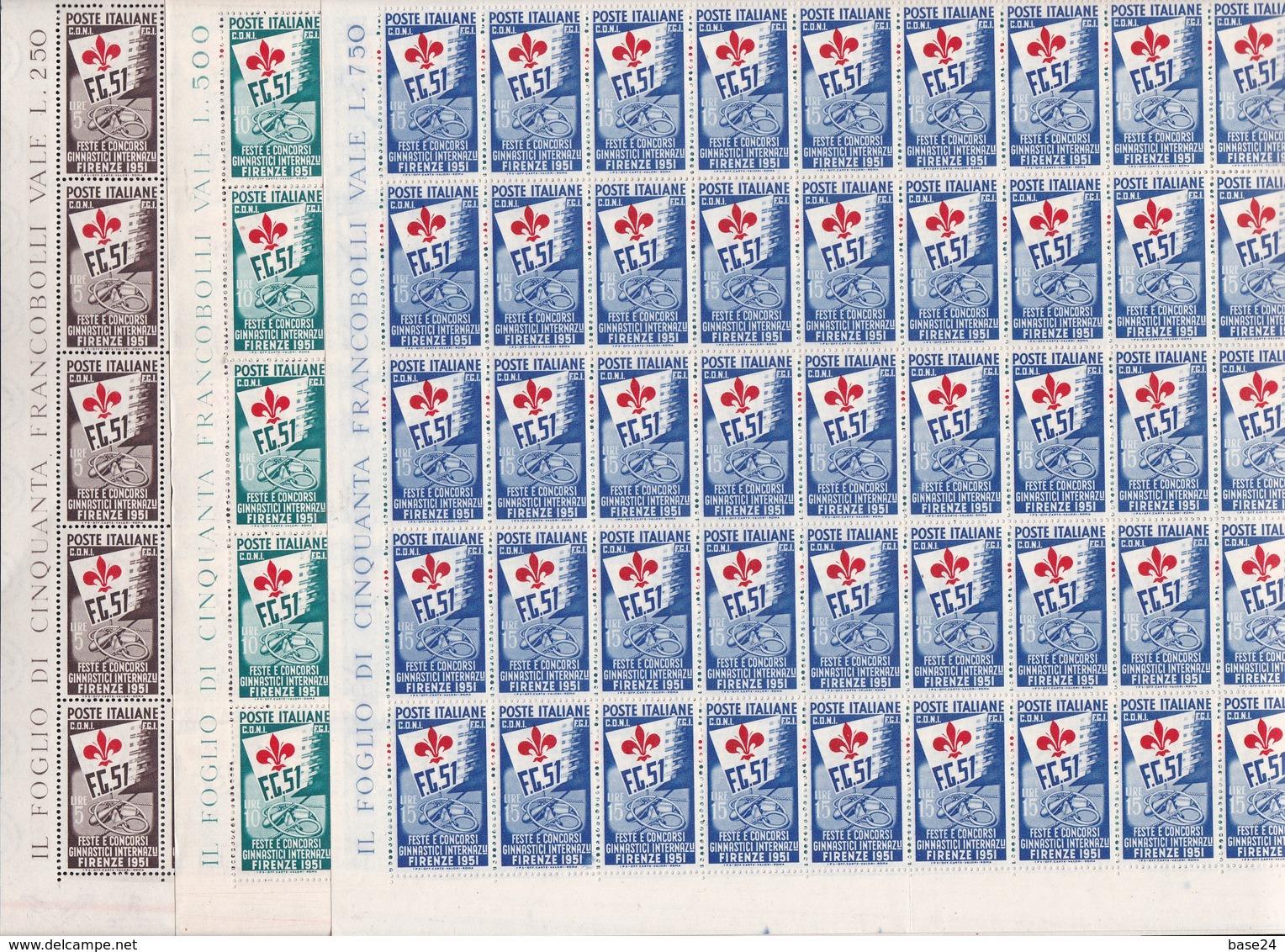 1951 Italia Italy Repubblica GIOCHI GINNICI DI FIRENZE 50 Serie Di 3 Valori In Foglio MNH** Sheet - Fogli Completi