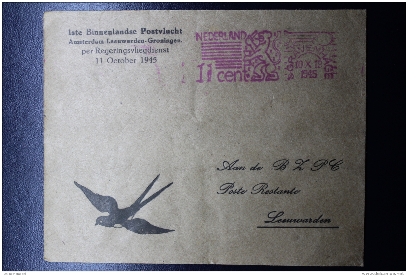 Nederland: 1e Binnenlandse Postvlucht Per Regeringsvliegdienst Amsterdam Leeuwarden Groningen  11 October 1945 - Periode 1891-1948 (Wilhelmina)