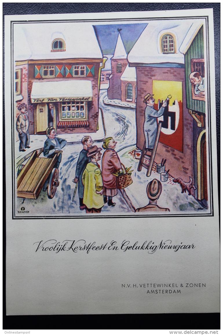 Nederland:  1945 Vroolijk Kerstfeest Etc.  NV H. Vettewinkel En Zonen Amsterdam, Kaart (dun) - Periode 1891-1948 (Wilhelmina)