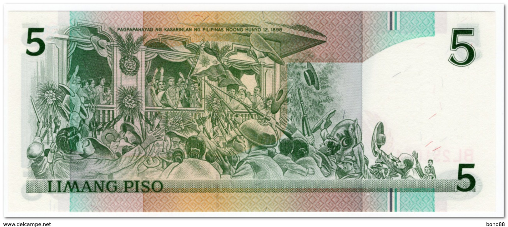 PHILIPPINES,5 PISO,1995,P.180,UNC - Philippines