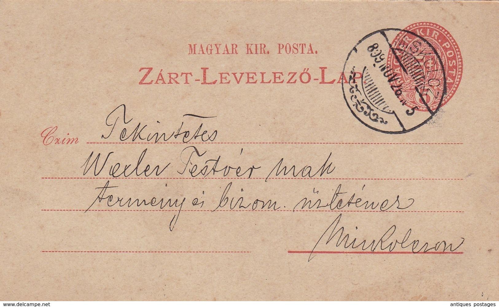 Entier Postal 1899 Miskolc Mischkolz Ungarn Hongrie Magyarország Otto Menner Gyógyszertár Apotheke Pharmacy Pharmacie - Postwaardestukken