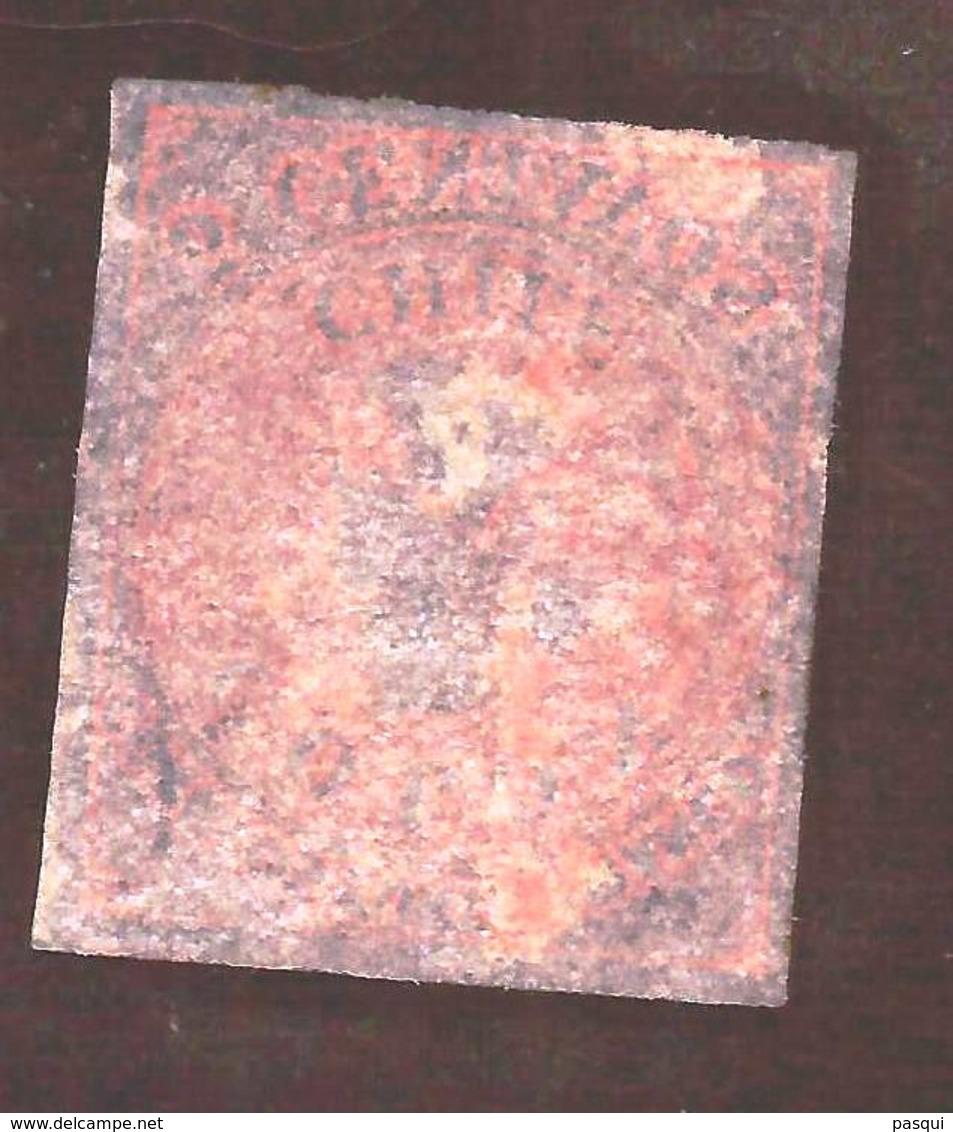 Chile - Fx. 3095 - Yv. 8 - 5 Cent. Rojo - Ultima De Londres - 4 Margenes - Usado - Chile