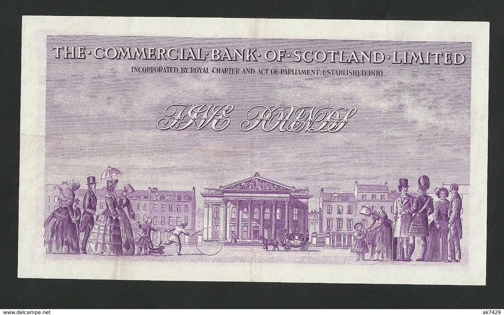 Scotland 5 Pounds 1949,Commercial Bank Of Scotland Ltd £5, P-S333 Rare Banknote - [ 3] Scotland