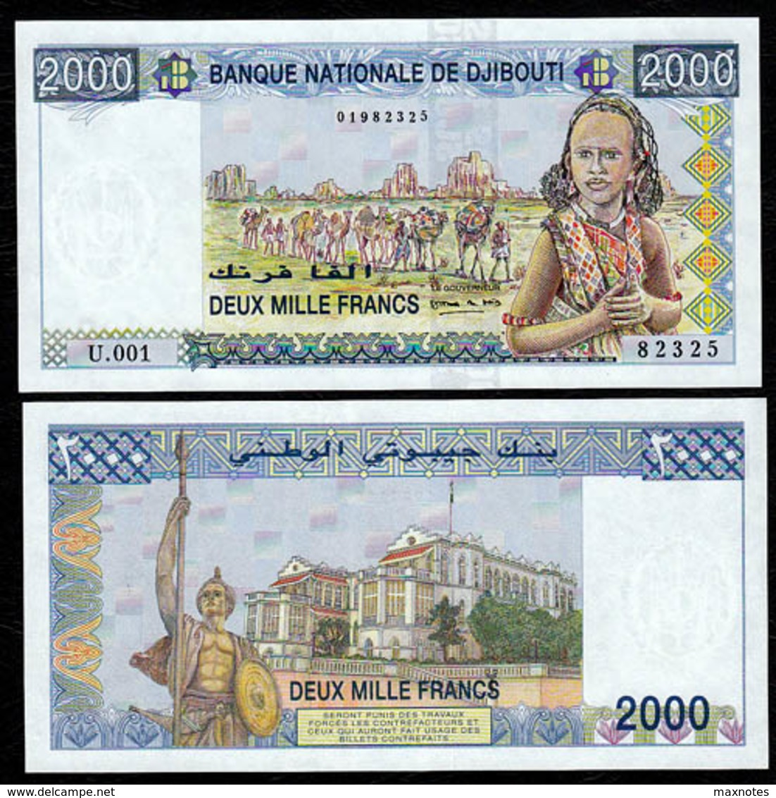 DJIBOUTI :2000 Franchi - 1997 - UNC - Banconote