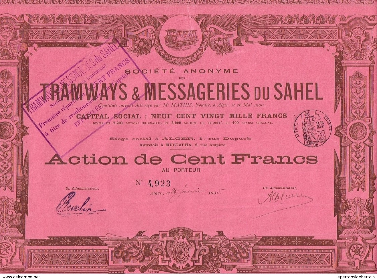 Ancienne Action - Sté Anonyme Tramways & Messageries Du Sahel - Titre De 1905 - Alger - Chemin De Fer & Tramway