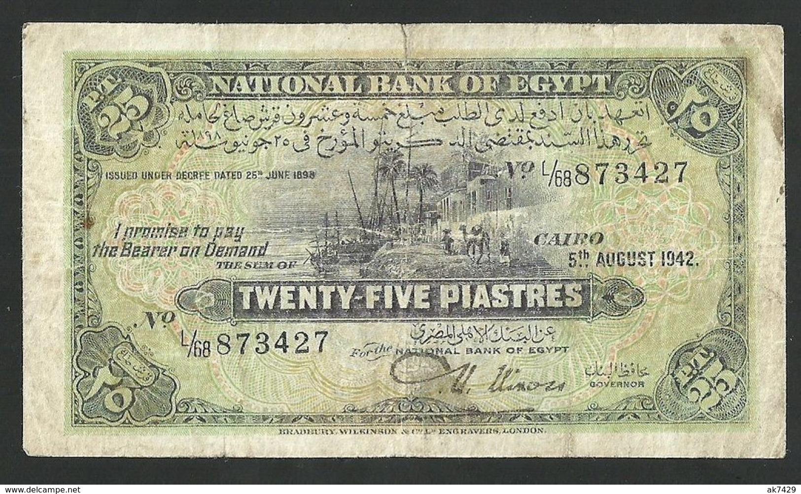 EGYPT 25 PIASTRES 1942 PICK #42a FINE+ - Egypt