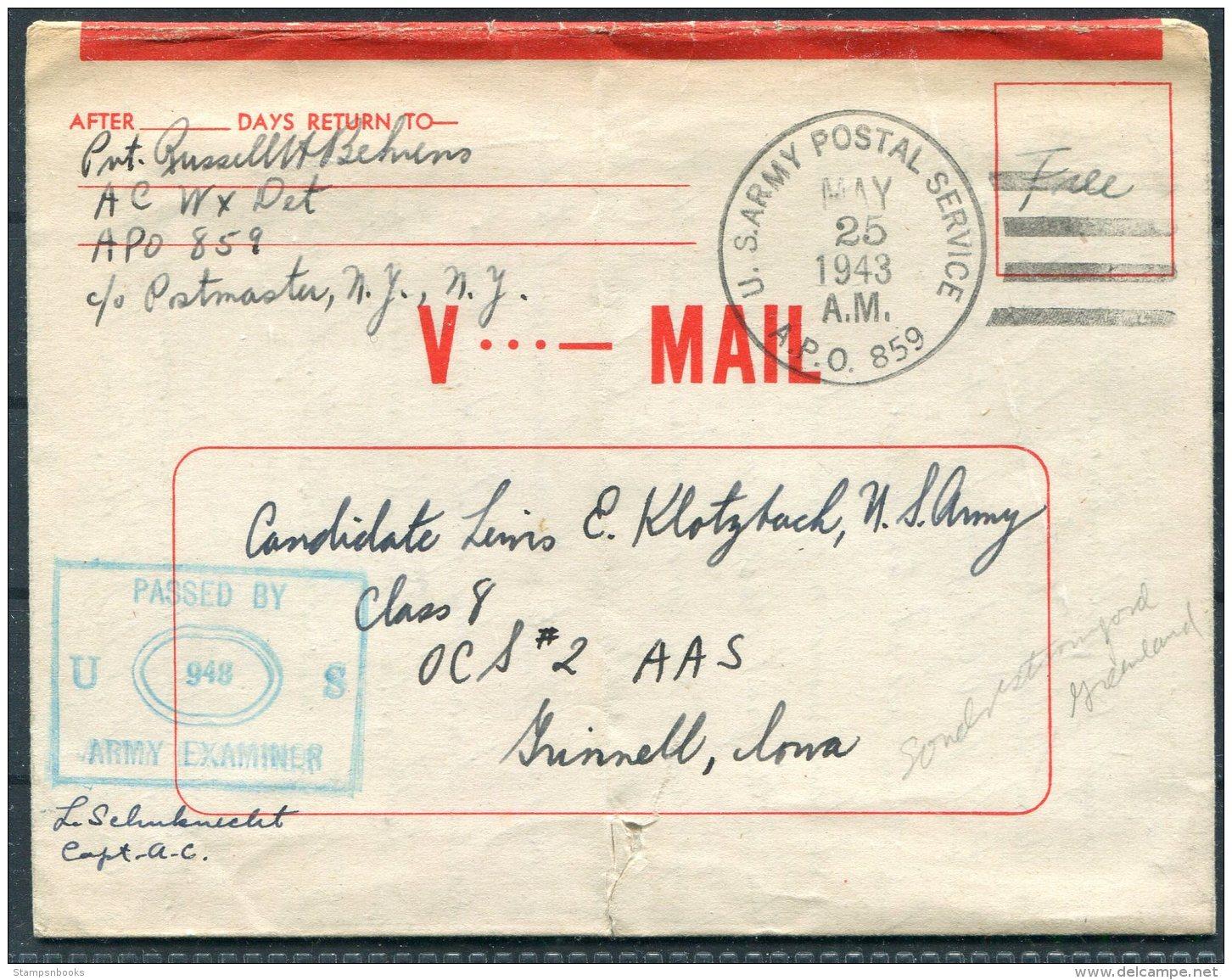 1943 Greenland US Army Postal Sevice APO 859 V Mail Cover - Iowa USA - Briefe U. Dokumente