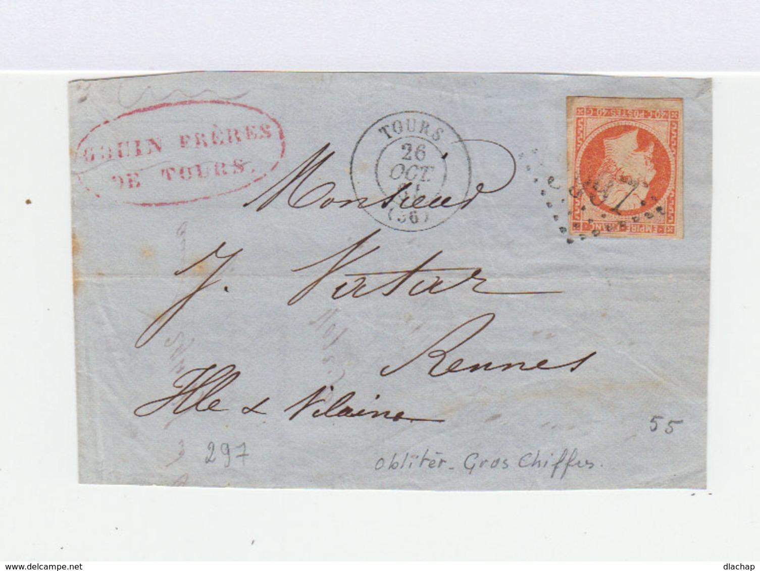 Sur Enveloppe 40 C. Orange Second Empire. Oblitération Losange Grands Chiffres. CAD Tours 1864. (699) - Marcophilie (Lettres)