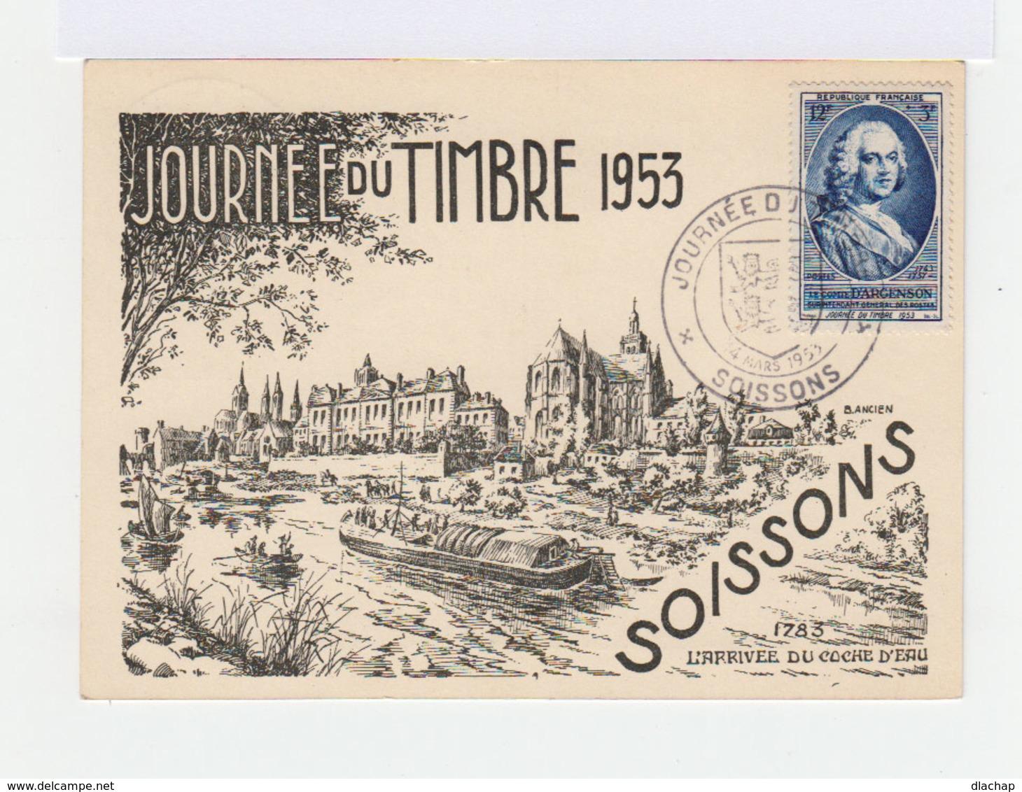 FDC Carte Journée Du Timbre 1953. Oblitération Soissons 14 Mars 1953. (700) - FDC
