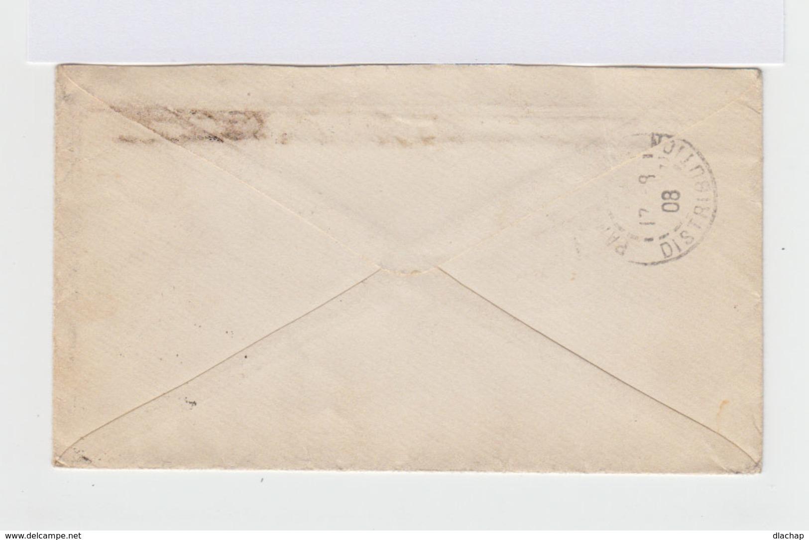 Sur Enveloppe Paire D'armoiries Empire Russe 5 K. Lilas. CAD 1908. (702) - 1857-1916 Empire